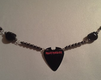 Iron Maiden guitar pick necklace