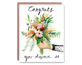 Congrats Card,hand painted - Illustrated blank card, 4.25x5.5""