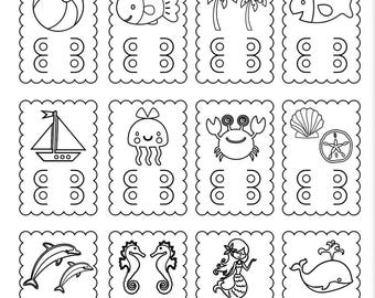 Set of (12) Beach themed coloring cards - great for Birthday Party favors, Beach vacations and more!
