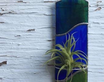 Green and blue stained glass air plant holder