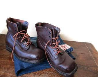 1960s Swedish Army Boots, Brown Leather Army Ankle Boots Hiking Boots Work Boots