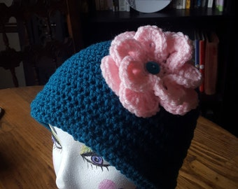 Women's Crochet Hat with Flower, Large Pink Flower, Crochet Hat with Flower, Ready to ship