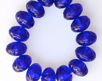 Large Flower Rondelle Bead - 7mm x 10mm Czech Glass Bead - Cobalt Blue - Qty 15+