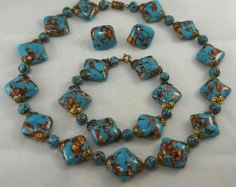 PARURE Set Vintage Antique Art Deco Venetian Turquoise Blue Copper Gold Foil Glass Bead Necklace Bracelet Earrings STUNNING