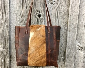 The Santa Fe: Hair on Hide Leather Tote  FREE Shipping