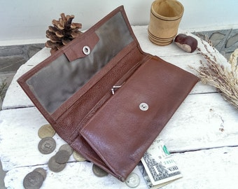 Vintage Brown Leather Lady Clutch Wallet, Retro Leather Women's Wallet, Elegant Lady Purse from 1970s