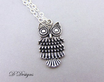 Silver Owl Necklace, Silver Owl Pendent, Silver Charm Necklace, Silver Necklace, Pagan Necklace