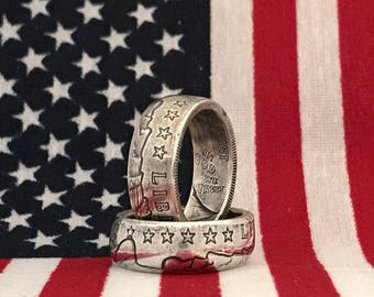 Silver Incuse Indian 1/4 Coin Ring, .999, America, custom, detailed, gift, band