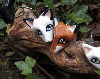 White fox or Red fox Rings - white and red - foxes - fox ring - ring fimo - ring animals