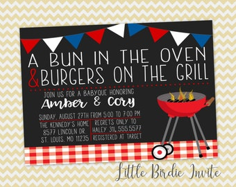 Bun In The Oven And Burgers On The Grill Invitation | Couples Baby Shower Invitation | Baby-Que Invitation | Printable Book Request Card