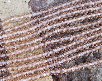 crystal beads, tiny rondelle beads, faceted rondelle beads, light champagne beads, approx 1mm x 2mm