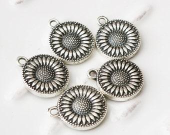 5% sale Antique Silver, Sunflower Charm, Flower Charm, Jewelry Charms, Jewelry Making Charms, Sun Flower, Silver Charm, Silver Flower Charm,
