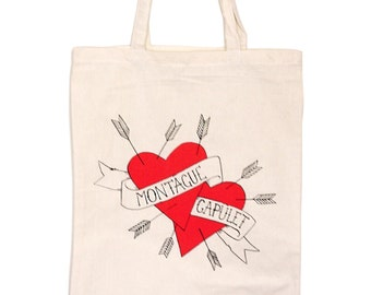 Book Bag / Tote / Shopper - Montague Loves Capulet - Tattoo Vintage Hearts - Romeo and Juliet - William Shakespeare