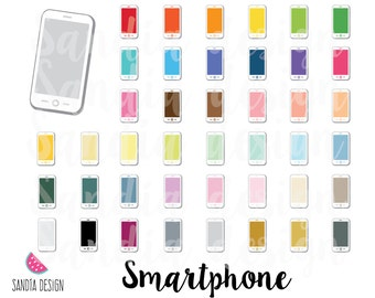 43 Smartphone, Cellphone clip art, Personal and small comercial use.