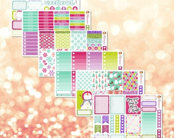 Merry & Bright Winter / Holiday / Christmas Theme Weekly Planner Sticker Kit - 6 pages, 186 stickers