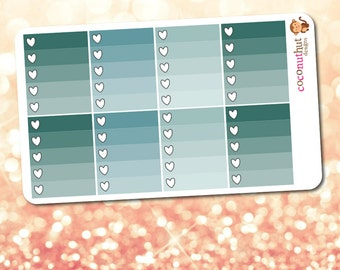 January / Teal Blue Ombre Heart Checklist Planner Stickers (2017 Erin Condren Life Planner Monthly Colors)