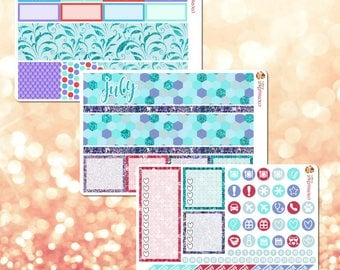 July Monthly Kit, March Monthly View Sticker Kit for Erin Condren Life Planner - 105 stickers!