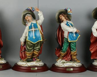 "Large 17"" Capodimonte Cortese 4 Figurines ""Four Musketeers"""