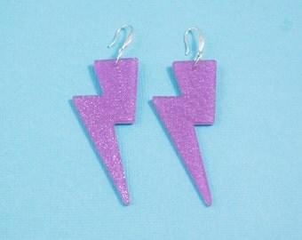 Lightning Bolt Earrings - Purple Glitter