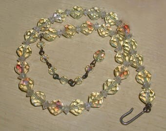 Vintage 1950's Pale Yellow Crystal Aurora Borealis Adjustable Necklace - Perfect for Spring & Summer!