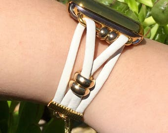 """Apple Watch iWatch Band 38mm 42mm Women Bands Case Bracelet """"Anna"""" White Leather with Gold Findings 38 42 Band Bracelets Womens TimeKits"""