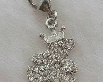 Sweet Baby Teddy Bear Prince Rhinestone Charm with Crown - Clip-On - Ready to Wear