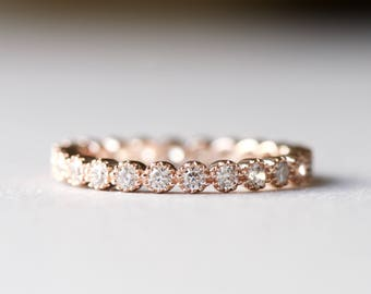 14k Rose Gold Eternity Band, Simulated Diamond Ring, 925 Sterling Silver Ring, Stackable ring, Wedding Band, Gift For Her