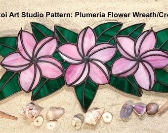 LilikoiArtStudio Stained Glass Pattern Plumeria Flower Wreath/Crown
