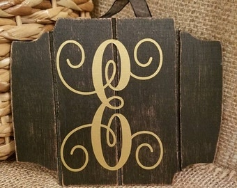 Black and Gold Monogram sign