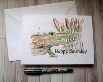Crocodile card, blank card, greetings card, birthday card, crocodile birthday, card for kids, child's birthday, kids crocodile card