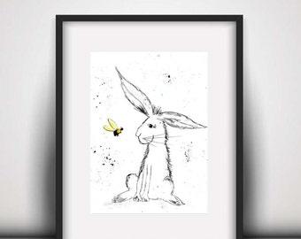 SALE Rabbit watercolour PRINT, rabbit and bee, watercolour painting, rabbit illustration, rabbit art print, hare, baby room decor