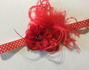 Red Baby Headband  Red Headband Red Flower Feather Baby headbands Valentine Headband Baby Headband Newborn Headband Christmas Headband