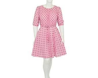 1970's Vintage Women's XL Bubblegum Pink Polka Dot Tea Dress 3/4 Sleeves Crepe