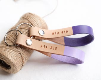 Lil Big Sis Gift, Big Little Sorority Keychain, Customized Leather Keychain, Custom Gift for Sister, Lilac Violet Keychains, Sisterhood Gift