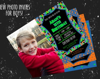 """Tech Boy Birthday Invitation - For One Photo - Several Color Combos - Any age! 4""""x6"""" or 5""""x7""""!"""