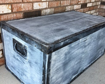 Vintage Trunk - whitewashed, handpainted, storage trunk