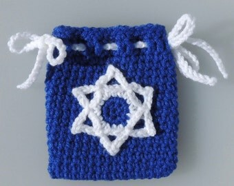 Crochet Hanukkah Bag, Gift Card Bag, Hanukkah, Crochet Gelt Bag, Chanukah
