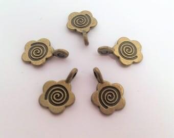 Bronze Tone Flower Glue on Bail 15x11mm
