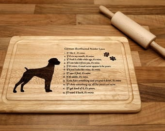 German Shorthaired Pointer Chopping Board, Cutting Board Wooden and Laser Engraved