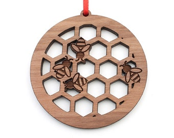 Bee Hive Honeycomb Christmas Ornament - Beekeeper Gift for your Honey Bee Christmas Ornament