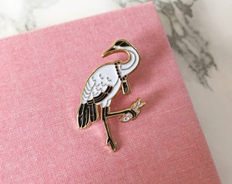 Japanese Crane with White Neck- Soft Enamel Lapel Pin Bird Collectible Art Jewelry