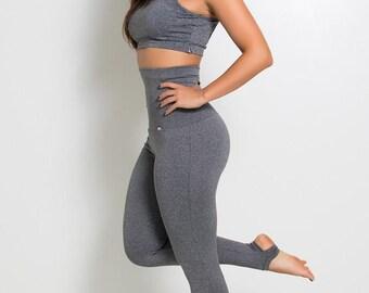 Heather Grey High Waisted Stirrup Leggings Yoga Pants Brazilian Workout Activewear Shapewear
