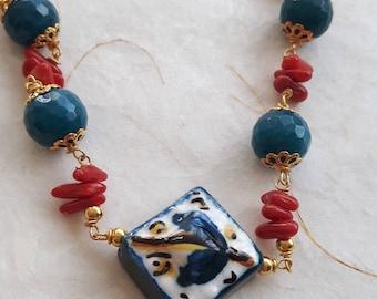 Bracelet gemstone coral and agate Caltagirone ceramic tile,