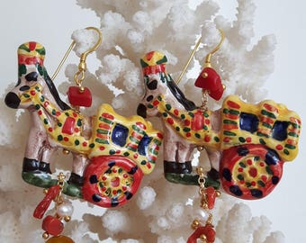 Sicilian cart earrings with coral, yellow agate, ceramic Caltagirone, silver