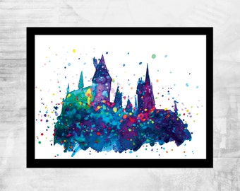 Hogwarts Poster Printable harry potter Watercolor Art Print Movie Poster original artwork home decor Hogwarts Castle
