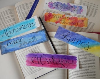 Bookmarks in watercolor dedicated to Harry Potter