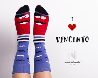 Vincento | funny character | mustache socks | mismatched | funny socks | crazy socks | happy friends socks | fun | women socks | men socks
