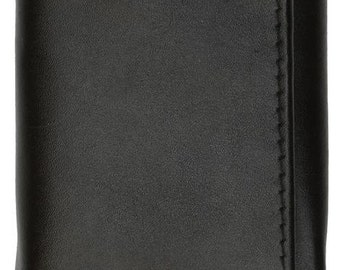 Genuine Leather Trifold Middle Flap Up ID Window Wallet Black, Brown 2755