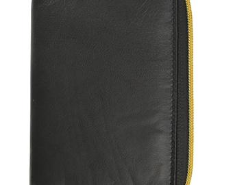 RFID Premium Leather Men's Passport Bifold Zip Around Wallet ID & Credit Card Holder Black And Brown RFID P 701