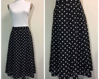 Vintage black and white polka dot midi skirt
